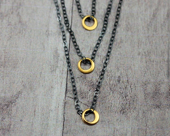 Thirtieth Birthday Necklace. Triple Circle Necklace. Minimal Three Chain Necklace. Gift For Grandma. Three Generations. Good Luck N2812