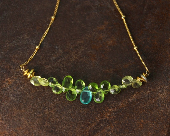 Apatite and Peridot Bar Necklace. Blue and Green Teardrop Necklace. Gemstone Jewelry.