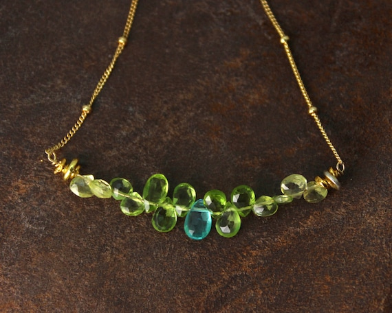 Bar Necklace. Apatite and Peridot Necklace. Blue and Green Teardrop Necklace. Gemstone Jewelry. NM-2189-4