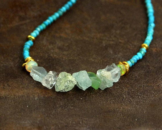 Raw Aquamarine and Chrysoprase Beaded Necklace. Turquoise and Raw Gemstones. Gold Fill and Vermeil or Sterling Silver.  NS- 2003