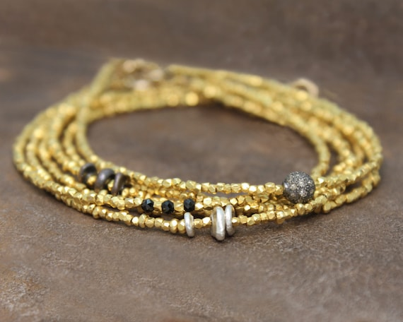 Beaded Bracelet. Delicate Black and Gold Stacking Bracelet. Tiny beads in 22k Gold Vermeil or Pure Silver. B-1916-1