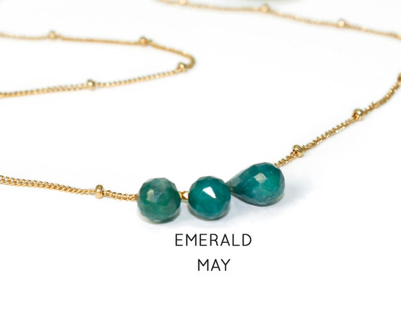 Emerald Necklace. May Birthstone. Multi Stone Necklace. Gift for Sister. Healing Stones. In Gold Filled, Silver, Rose Gold. N2606