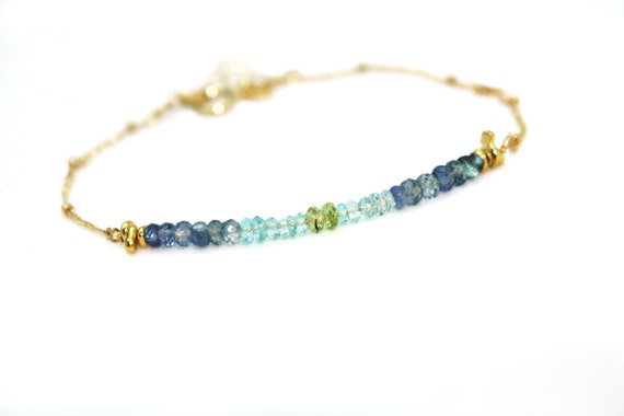 Ombre Sapphire, Apatite and Peridot Bar Bracelet. Gold Fill or Sterling Silver. September Birthstone.