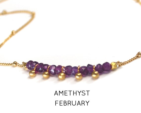 Amethyst Choker. February Birthstone. Healing Stone. Balance and Tranquility. Adjustable Choker. In Gold Filled, Silver, Rose Gold. N2607