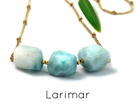 Larimar Necklace, Raw Stone Necklace. Healing Crystals. Strength & Energy. Gold Filled, Silver, Rose Gold. N2620