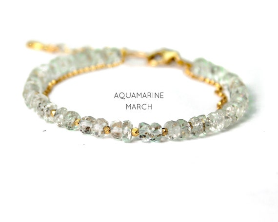 Aquamarine Charm Bracelet. March Birthstone. Healing Stones, Beaded Bracelet. Double Strand Bracelet. Gold Filled, Silver, Rose Gold. B2602