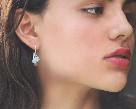 Moonstone Triple Drop Earrings for June Birthdays. Sterling Silver or Gold Filled.