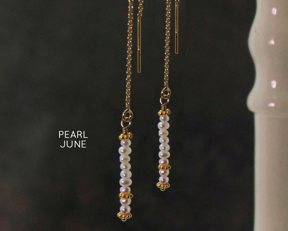 June Birthstone. Pearl Threader Earrings.  Healing Stones, Freshwater Pearl. Threader with Arch. Long Earrings, Gold Filled or Silver, E2622