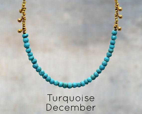 Boho Chic Turquoise Beaded Necklace. Turquoise Jewelry. Sterling Silver or Gold Fill. NS-1750