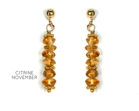 Citrine Earrings, Orange Post Earrings. November Birthstone. Healing Stones, Vertical Bar Studs. Gold Filled, Silver, Rose Gold. E2621