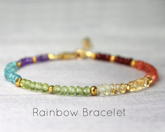 Rainbow Bracelet. After the Rain. LGBTQ Jewelry, Gift of Hope. Colorful Multi-Gemstone Bracelet  in Gold, Rose Gold or Silver, B2863