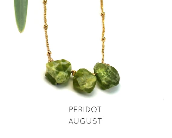 August Birthstone. Peridot Necklace, Raw Stone Necklace. Healing Crystals. Strength & Energy. Gold Filled, Silver, Rose Gold. N2620
