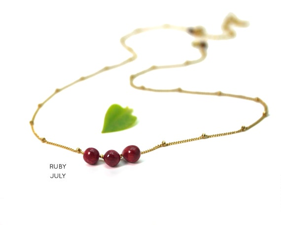 Ruby Necklace. July Birthstone. Courage and Passion. Healing Stones. Layering Necklace. In Gold Filled, Silver, Rose Gold. N2606
