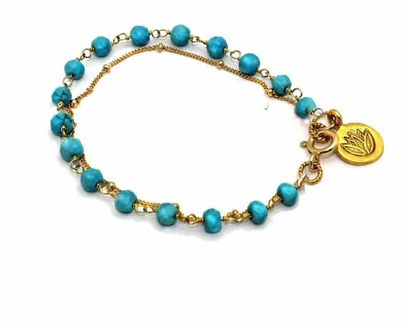 Turquoise Rosary bracelet. Lotus Bracelet. Layered Gemstone Bracelet. Yoga Bracelet.  B-1790