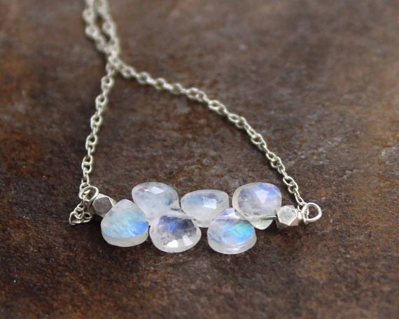 Delicate Rainbow Moonstone Birthstone Bar Necklace. In Gold Filled or 925 Silver.