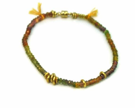 Tassel Bracelet. Hessonite Garnet & Yellow Cotton Bracelet. Earth Tones. Gold Filled or Sterling Silver. B-1757