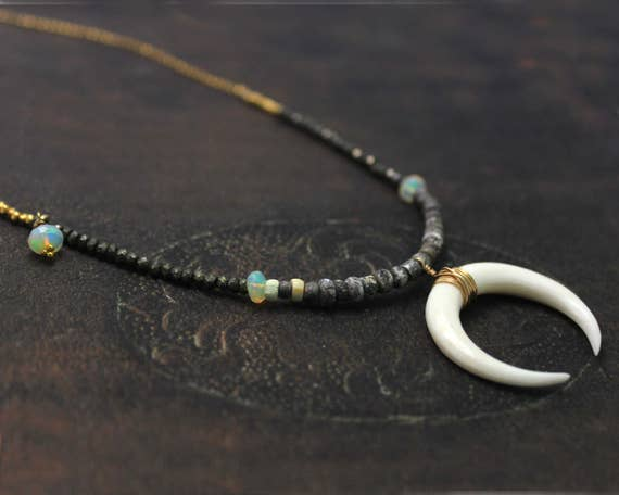 Double Horn Necklace, Long Boho Necklace. Bone Crescent Necklace.  Available in Black, Gold or Silver. N2345