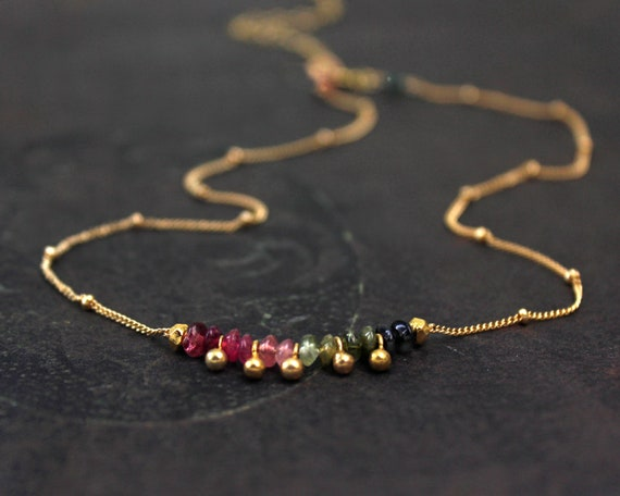 Watermelon Tourmaline Choker. October Birthstone. Dainty, Gift for Sister. Adjustable Choker. In Gold Filled, Silver, Rose Gold. N2607