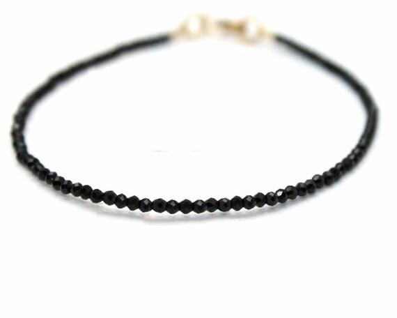 Delicate Black Beaded Bracelet. Black Spinel Stacking Bracelet. Gold Fill or Sterling Silver. B-1933