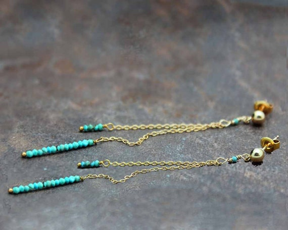 Turquoise Dangle Earrings. Delicate Post Earrings. Long Stud Earrings. December Birthstone. Turquoise Jewelry. In Gold or Silver. E1936
