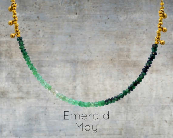 Ombre Beaded Necklace. Shaded Emerald or Ruby with Textured Bobbles. Gradient Gemstone Jewelry. Sterling Silver or Gold Fill. NS-1750