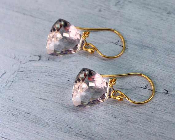 Pink Pastel Trillion Earrings. Faceted Slightly Assymetrical Purse Earrings. Uniquely Designed in Gold or Silver or Rose Gold. E2860