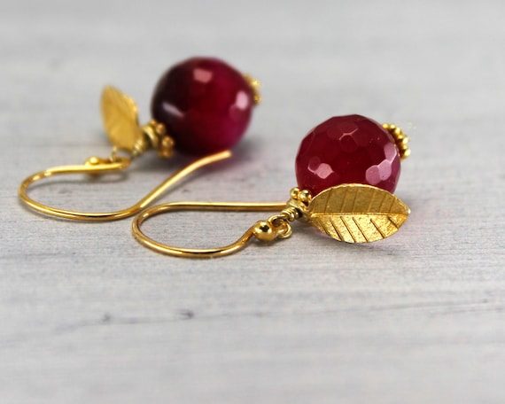Pomegranate Earrings. Leafy Fruity Earrings. Fruit of Knowledge. Dark Red Agate Earrings. In 22k Gold Vermeil or Sterling Silver. E2830