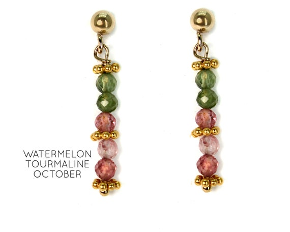 Tourmaline Earrings. Post Earrings. October Birthstone. Healing Stones, Vertical Bar Studs. Gold Filled, Silver, Rose Gold. E2621