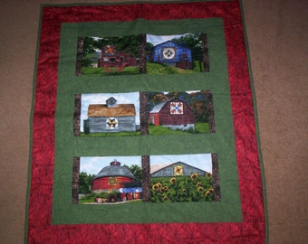 Hand Quilted BARNS Wall Hanging