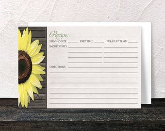 Sunflower Recipe Cards - Rustic Wood Floral design in Yellow Brown and Beige and Green Accent - 4x6 Printed Recipe Cards