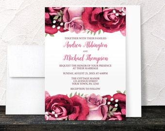 Burgundy Rose Wedding Invitations - Rustic Burgundy Pink Rose on White Floral - Printed Invitations