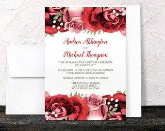 Red Rose Reception Only Invitations - Rustic Red Pink Rose with Green on White - Floral Post-Wedding Reception - Printed Invitations