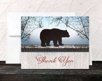 Rustic Bear Thank You Cards - Rustic Wood Red or Green with Blue - Woodsy Outdoorsy Country - Printed Cards