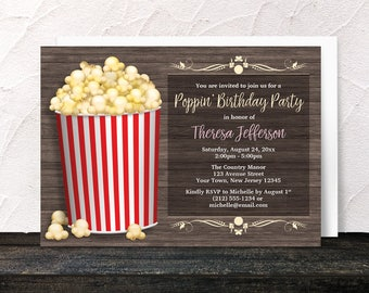 Popcorn Birthday Party Invitations - Rustic Wood with Red Stripe Popcorn Bucket - Yellow Red and Brown Poppin Birthday - Printed Invitations