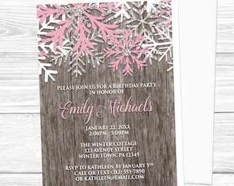 winter onederland invitations pink silver snowflakes winter etsy
