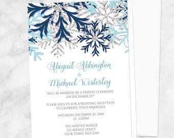 snowflake winter wedding invitations navy aqua blue and etsy