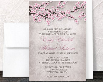 wedding invitations cherry blossom etsy