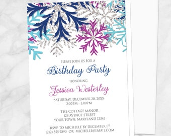 winter birthday party invitations blue country rustic winter etsy