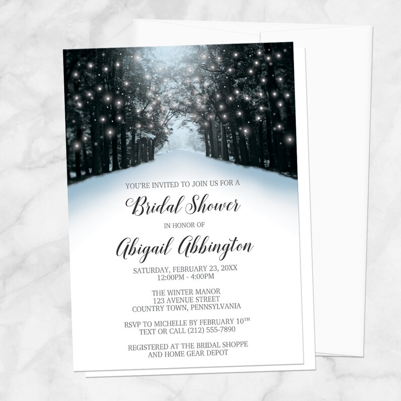 f290d1e07d5 Winter Tree Lights Bridal Shower Invitations Snowy Road