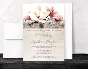 Magnolia Birthday Invitations - Rustic Birch Light Wood Southern Floral - Adult Womens Birthday - Any Milestone - Printed Invitations