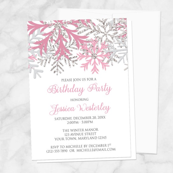 winter birthday party invitations girl pink and silver snowflakes