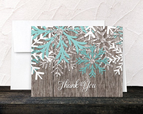 Rustic Winter Thank You Cards Teal Snowflake Country Rustic Winter