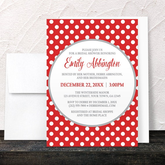 Bridal shower invitations polka dot red and white with gray etsy image 0 filmwisefo