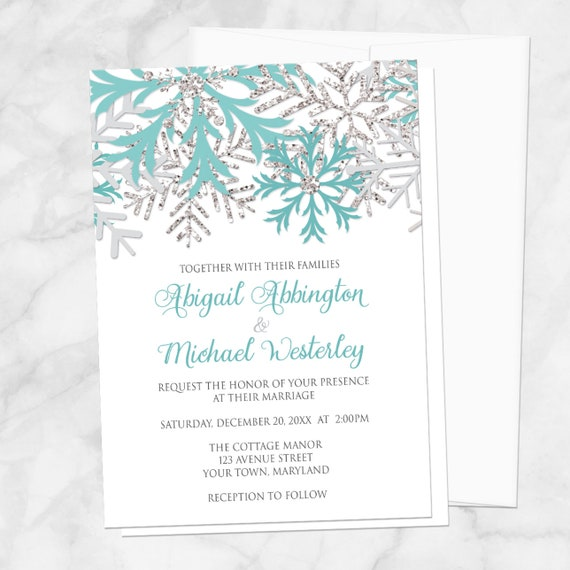 winter wedding invitations teal silver snowflakes on white etsy