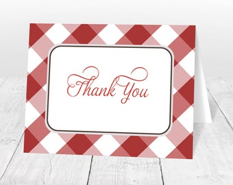 Red Thank You Cards - Gingham Country Southern Red and White Pattern, Gingham Thank You Cards - Printed Thank You Cards