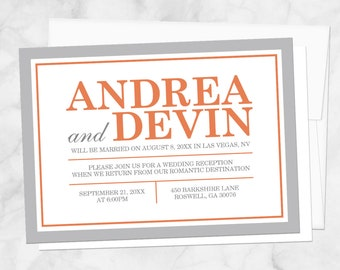 Orange Gray Reception Only Invitations and RSVP - Printed Invitations