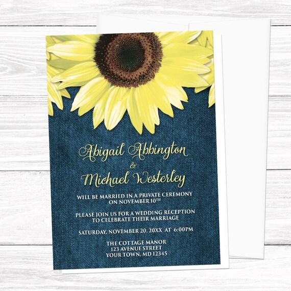 Sunflower Reception Only Invitations Rustic Denim