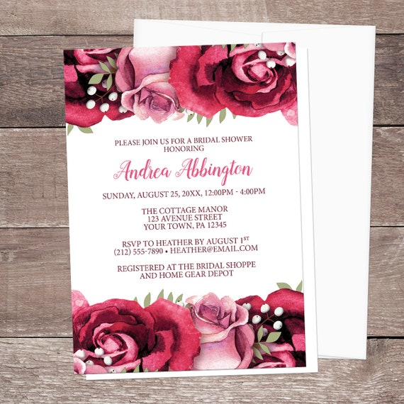 burgundy rose bridal shower invitations rustic burgundy pink rose