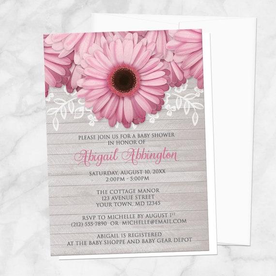 Daisy Baby Shower Part - 17: Pink Daisy Baby Shower Invitations Rustic Light Gray Wood | Etsy