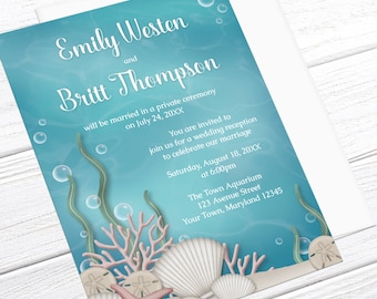 Under the Sea Reception Only Invitations - Whimsical Underwater design - Aquarium Reception - Post-Wedding Reception - Printed Invitations